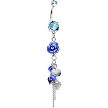 Aqua Gem Hanging Hearts and Blue Mountain Rose Dangle Belly Ring | Body Candy Body Jewelry