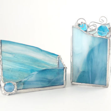 Office Desk Accessories Set - Teal Stained Glass