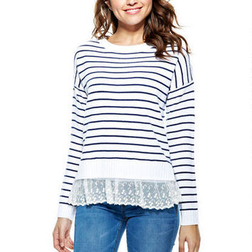 Stripe Lace Bottom Sweater