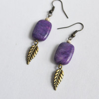 Feather Boho Earrings. Bohemian Purple Earrings.Angel Wing.Charolite Rectangular Dangle Earrings.