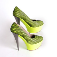 20% OFF - NEON PUMPS - Neon yellow platform high heels with decorative black net - made to order