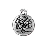 1 TierraCast Tree of Life Charm - Silver Plated Pewter  - 20 mm x 16 mm
