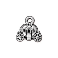 5 TierraCast Carriage Charms - Silver Plated Pewter Fairy Tale Charms - 15 mm