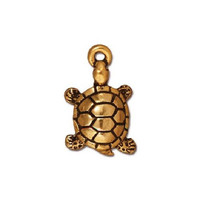 4 TierraCast Turtle Charms - 22 K Gold Plated Pewter Charms - 19 mm x 11 mm