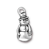 5 TierraCast Frosty the Snowman Charms - Silver Plated Snowman  - 23 x 10 mm
