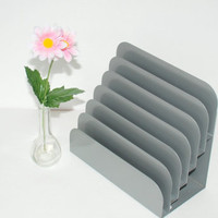 Vintage 6 Slot Metal Letter FIle Holder Desk Organizer Grey