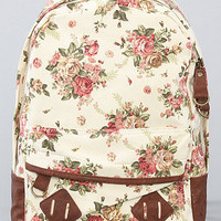 The Flower Printed Backpack in Light Beige