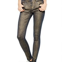 Liv High-Rise Jeggings in Metallic Coated
