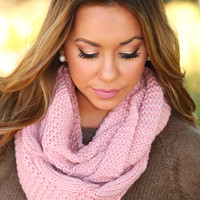 Knitted With Love Scarf: Blush - One