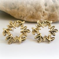 Round gold flower studs-Metalwork silver and brass studs