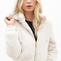 FOREVER 21 Faux Shearling Hoodie Cream