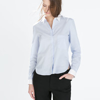 Striped poplin shirt