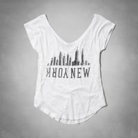 New York V-Neck Graphic Tee