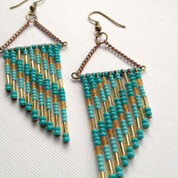 Teal, Turquoise and, Tan 70's Inspired Beaded Earrings