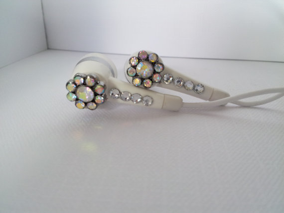 Tiny Rhinestone flower earbuds with swarovski crystals