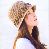 crochet hat women crochet summer sun hats with knit red and green flowers fashion