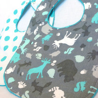 Baby Bib Set - Modern Baby Bib Set- Woodland Animals Bib - Aqua and White Polkadot Bib Set -Aqua Bubble Dot Minky Fabric -Handmade Baby Gift