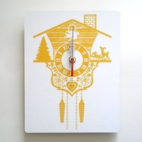 Wood Panel Wall Hanging Clock Cuckoo Clock Yellow by decoylab