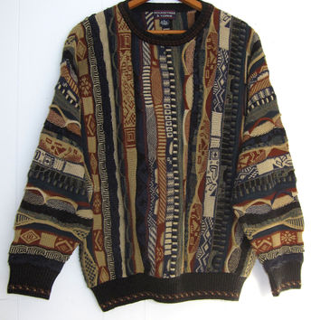 Vintage 90s Crazy Cosby Sweater 3D Textured Knit Hipster XL