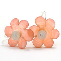 Sea Glass Flower Bead Earrings Handmade Lampwork Sterling Silver Coral Orange