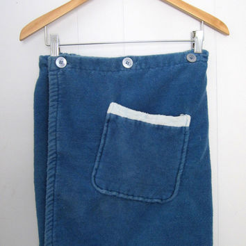 Vintage 60s Terry Cloth Kilt Bath Shower Pocket Wrap Towel Blue Retro