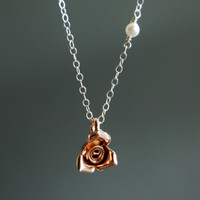 Lokelani necklace - sterling silver rose gold rose charm necklace, pearl, two toned silver delicate necklace, maui, hawaii