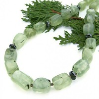 Green Prehnite Hematite Handmade Necklace Gemstone OOAK Jewelry Summer