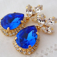 Sapphire blue and clear Chandelier earrings, Drop earrings, Bridal earrings, Sapphire Dangle earrings, Weddings jewelry pave halo earring