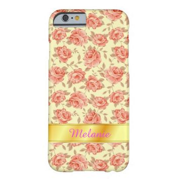 Girly Stylish Retro Pink Rose Flower iPhone 6 Case