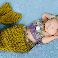Adorable Newborn Green and Purple Mermaid Pod/ top/ and headband Set (Crown and Owl Pirate Sold Separately) made by: JustDandyCreations