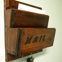 Wall mounted Wood mailbox/sorter. Red mahogany. Also great for tv remote control storage or magazines