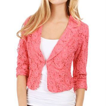 Coral Lace 3/4 Sleeve Blazer