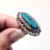 Faux Turquoise Ring Adjustable Silver Tone Oval