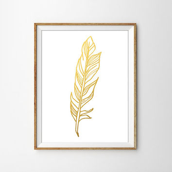Gold Foil Feather. Shabby Chic Print. Modern rustic decor. Bedroom Decor. Office Art. Gold Print. Modern Home Decor. Bird Feather Print.