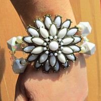 Cuff Bracelet White Chunky Beads with White Flower Focal
