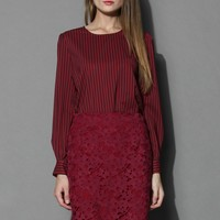Striped Chiffon Smock Top in Wine Red S/M