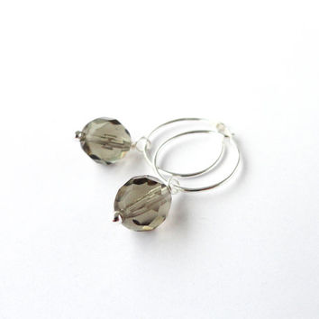 Silver earrings small hoops grey glass bead elegant small earrings pendant