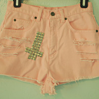 Cross Studded, High Waisted, Pink Denim Shorts