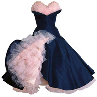 Don Miguel - 1950's Don Miguel Navy Taffeta Strapless Ruffle Full Party Dress