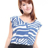 Abstract Foldup Sleeve Top – Blue
