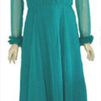 Green 70s Vintage Clothing Party Dress