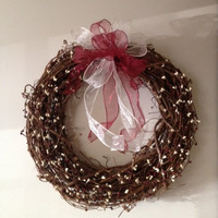 Pip Berry Wreath, Grapevine 18 inch, Wine and Cream Berries