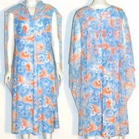 Blue Sleeveless Vintage 1970s Dress with Cape