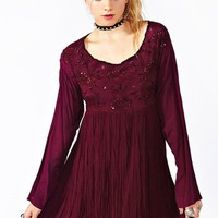 Burgundy Beaded Babydoll
