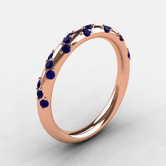 French Bridal 14K Rose Gold Blue Sapphire Wedding Band R185B-14KRGBS