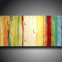 Art original Abstract painting TODAY show  JMJARTSTUDIO Original 3 piecel BRAILLE Painting 20 X 48 inches Joy