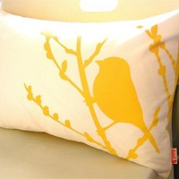 Yellow Print on Off-white Bird on Cherry Blossom Pillow