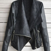 Simple Style PU Leather Zipper Jacket * free shipping *
