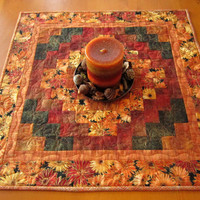 Fall Table Topper Handmade Quilted Flowers Tabletop Home Decor