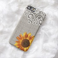 rustic girly western country sunflower burlap lace iPhone 6 case
